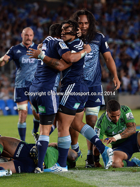 Ma'a Nonu celebrates his try. Blues v Highlanders. Investec Super Rugby Season. Eden Park, Auckland, New Zealand. Saturday 29 March 2014. Photo: Andrew Cornaga/Photosport.co.nz