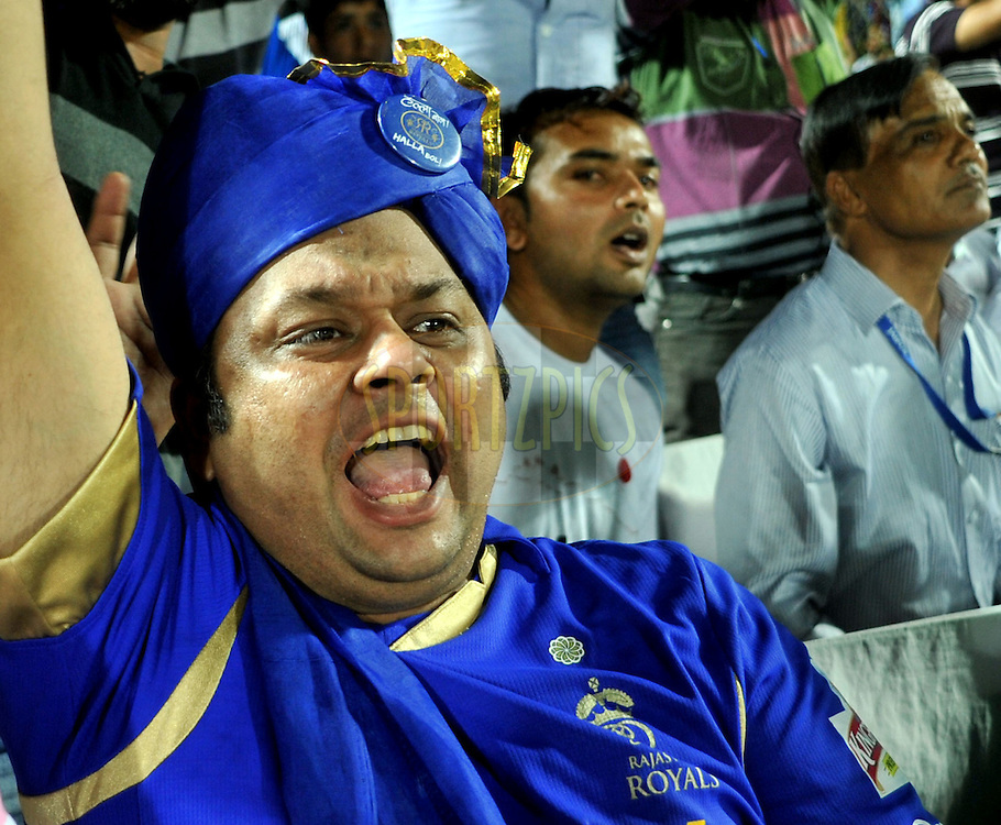 Fans during match 72 of the the Indian Premier League ( IPL) 2012  between The Rajasthan Royals and the Mumbai Indians  held at the Sawai Mansingh Stadium in Jaipur on the 20th May2012..Photo by Sandeep Shetty/IPL/SPORTZPICS