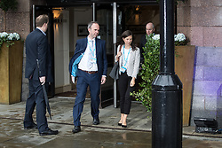 © Licensed to London News Pictures . 01/10/2017. Manchester, UK. Theresa May's Chief of staff GAVIN BARWELL leaves the Midland Hotel to go to the BBC in Salford with the Prime Minister for the Marr Show . The Conservative Party Conference at the Manchester Central Convention Centre . Photo credit: Joel Goodman/LNP