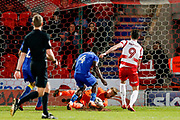 AFC Wimbledon goalkeeper George Long (1), on loan from Sheffield United, saves well late on from a point blank header from Doncaster Rovers forward John Marquis (9)  during the EFL Sky Bet League 1 match between Doncaster Rovers and AFC Wimbledon at the Keepmoat Stadium, Doncaster, England on 1 May 2018. Picture by Simon Davies.