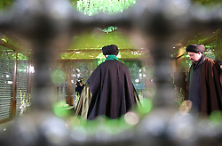 Iran's supreme leader, Ayatollah Ali Khamenei(L), prays over the tomb of the founder of Iran's Islamic republic, the late Ayatollah Ruhollah Khomeini (portrait), at the latter's shrine south of Tehran on January 31, 2018 to mark the 39th anniversary of his return from exile on February 1, 1979. Photo by Parspix/ABACAPRESS.COM