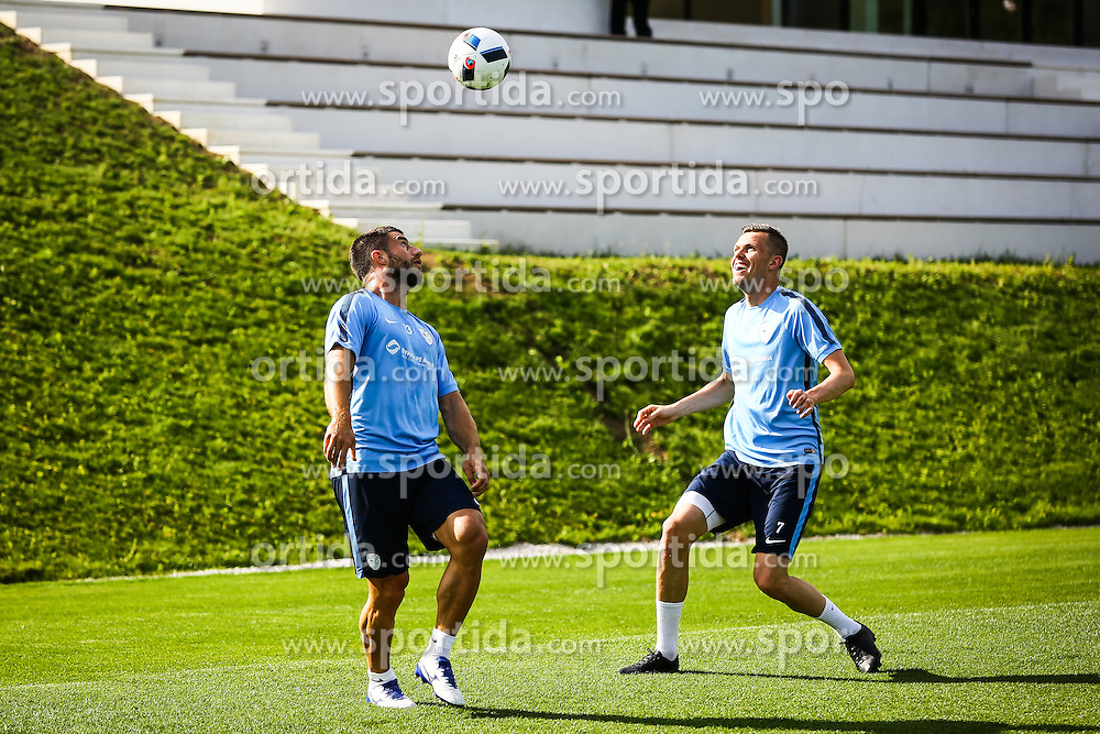 Bojan Jokic and Josip Ilicic during practice session of Slovenian Football Team practice session of Slovenian National Team before game against Sweden, on May 26, 2016 in Football centre Brdo pri Kranju, Slovenia. Photo by Ziga Zupan / Sportida