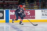 KELOWNA, CANADA - DECEMBER 17: Cameron Reagan #5 of Kamloops Blazers warms up against the Kelowna Rockets on December 27, 2014 at Prospera Place in Kelowna, British Columbia, Canada.  (Photo by Marissa Baecker/Shoot the Breeze)  *** Local Caption *** Cameron Reagan;