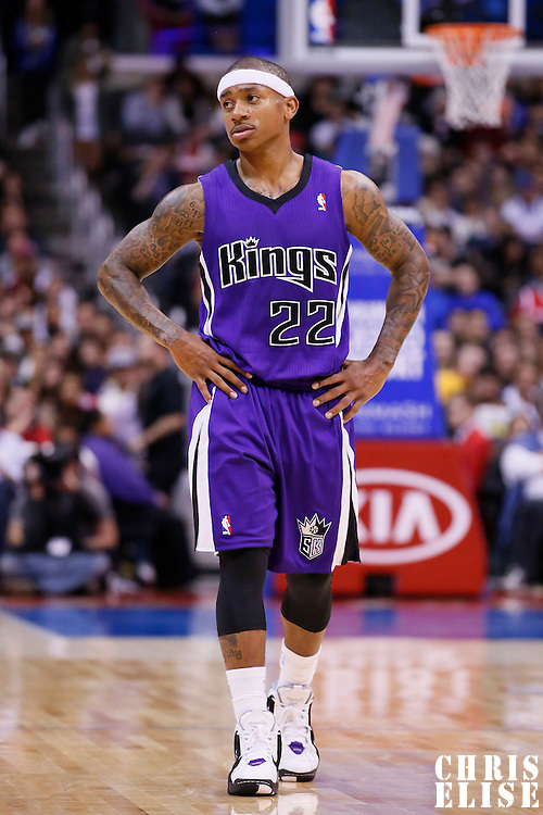 23 November 2013: Sacramento Kings point guard Isaiah Thomas (22) rests during the Los Angeles Clippers 103-102 victory over the Sacramento Kings at the Staples Center, Los Angeles, California, USA.