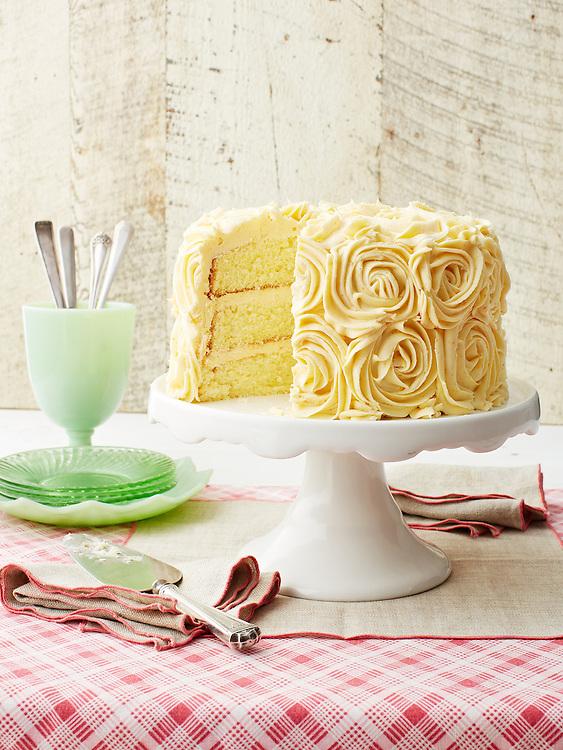 Lemon Chiffon Cake with Buttercream Frosting