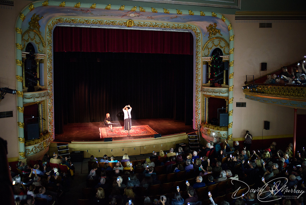 Dame Wilburn hosts The Moth at The Music Hall in Portsmouth, NH. March 2017.