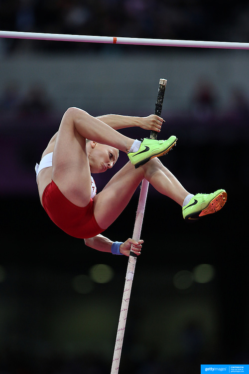 Anna Rogowska, Poland, in action during the Women's Pole Vault Final at the Olympic Stadium, Olympic Park, during the London 2012 Olympic games. London, UK. 4th August 2012. Photo Tim Clayton