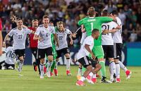 Fussball  International U 21 Europameisterschaft 2017 in Krakau 30.06.2017 Finale Deutschland - Spanien JUBEL Deutschland; Maximilian Philipp, Waldemar Anton, Torschuetze zum 1-0 Mitchell Weiser (v.li.)