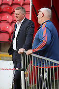 Brentford Head Coach Dean Smith looking relaxed during the Sky Bet Championship match between Brentford and Fulham at Griffin Park, London, England on 30 April 2016. Photo by Matthew Redman.