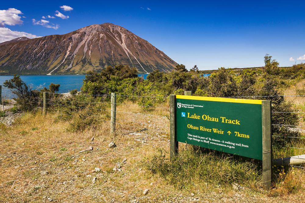 The Lake Ohau Track along Lake Ohau, Southern Alps, Canterbury, South Island, New Zealand