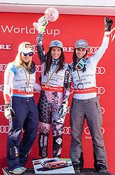 15.03.2018, Aare, SWE, FIS Weltcup Ski Alpin, Finale, Aare, SuperG Weltcup, Siegerehrung, im Bild v.l. Lara Gut (SUI, SuperG Weltcup 2. Platz), Tina Weirather (LIE, SuperG Weltcup Sieger), Anna Veith (AUT, SuperG Weltcup 3. Platz) // f.l. Super G World Cup 2nd placed Lara Gut of Switzerland SuperG World Cup winner Tina Weirather of Liechtenstein Super G World Cup 3rd placed Anna Veith of Austria during the winner Ceremony for the SuperG Worlcup of FIS Ski Alpine World Cup finals in Aare, Sweden on 2018/03/15. EXPA Pictures © 2018, PhotoCredit: EXPA/ Johann Groder
