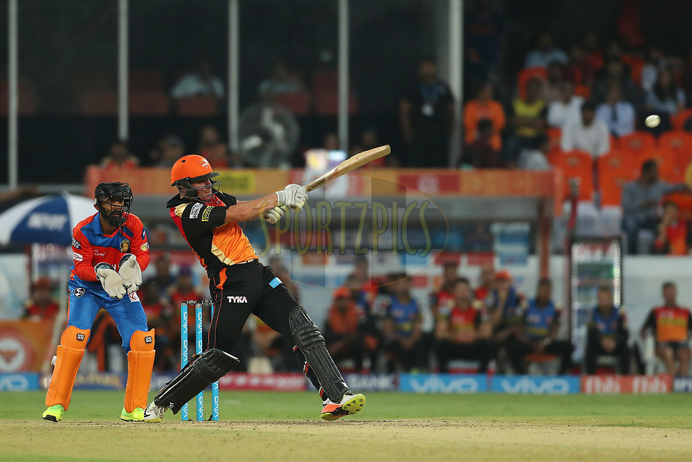 Moises Henriques of the Sunrisers Hyderabad during match 6 of the Vivo 2017 Indian Premier League between the Sunrisers Hyderabad and the Gujarat Lions held at the Rajiv Gandhi International Cricket Stadium in Hyderabad, India on the 9th April 2017<br /> <br /> Photo by Ron Gaunt - IPL - Sportzpics