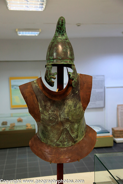 Helmet and armour of a Thracian soldier on display in Kazanlak museum, Bulgaria