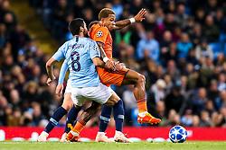 Memphis Depay of Lyon takes on Ilkay Gundogan of Manchester City - Mandatory by-line: Robbie Stephenson/JMP - 19/09/2018 - FOOTBALL - Etihad Stadium - Manchester, England - Manchester City v Lyon - UEFA Champions League Group F