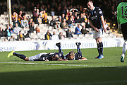 Dundee's Jim McAlister and Gary Harkins after their celebration in imitation of internet meme #rkoouttanowhere (named after wrestler Randy Orton) after the midfielder had scored against Motherwell at Fir Park  - Motherwell v Dundee, SPFL Premiership at Fir Park<br /> <br />  - &copy; David Young - www.davidyoungphoto.co.uk - email: davidyoungphoto@gmail.com