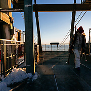 Hadley Hammer walks from the top tram dock at sunrise to Corbet's Cabin.