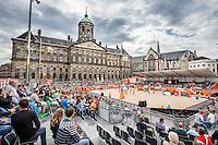 AMSTERDAM - Poulewedstrijd Van der Vlist / Van Gestel (NED) tegen Goricanec / Huberli (Zwitserland) , Beachvolleybal , WK Beach Volleybal 2015 , Stadion op de Dam , 28-06-2015 , stadionoverzicht