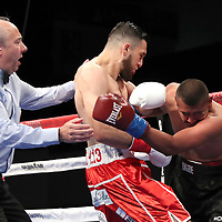 VERONA, NY - JUNE 08: Referee Mark Nelson stops the fight in the first round as Alex Rincon punches Engelberto Valenzuela during the Golden Boy on ESPN fight night at Turning Stone Resort Casino on June 8, 2018 in Verona, New York. (Photo by Alex Menendez/Getty Images) *** Local Caption *** Engelberto Valenzuela; Alex Rincon; Mark Nelson