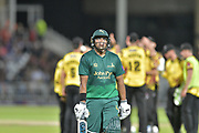 Samit Patel run out during the NatWest T20 Blast Quarter Final match between Notts Outlaws and Somerset County Cricket Club at Trent Bridge, West Bridgford, United Kingdom on 24 August 2017. Photo by Simon Trafford.