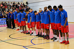 Bristol Flyers stand for a minutes silence before remembrance day - Rogan Thomson/JMP - 05/11/2016 - BASKETBALL - SGS Wise Arena - Bristol, England - Bristol Flyers v Leicester Riders - BBL Championship.