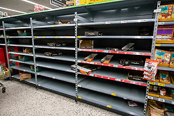 © Licensed to London News Pictures. 05/03/2020. London, UK. Empty shelves on the pasta aisle. Panic-buying continues to show in ASDA in South West London as shelves empty out of goods. Prime Minister Boris Johnson appeared on This Morning TV show to reassure the public that the Government is doing all it can to fight the coronavirus disease.. Photo credit: Alex Lentati/LNP