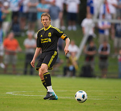 ZUG, SWITZERLAND - Wednesday, July 21, 2010: Liverpool's captain Lucas Leiva in action against Grasshopper Club Zurich during the Reds' first preseason match of the 2010/2011 season at the Herti Stadium. (Pic by David Rawcliffe/Propaganda)