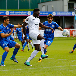 Dovers forward Inih Effiong tries to control the ball during the National League match between Dover Athletic FC and Eastleigh FC at Crabble Stadium, Kent on 25 August 2018. Photo by Matt Bristow.