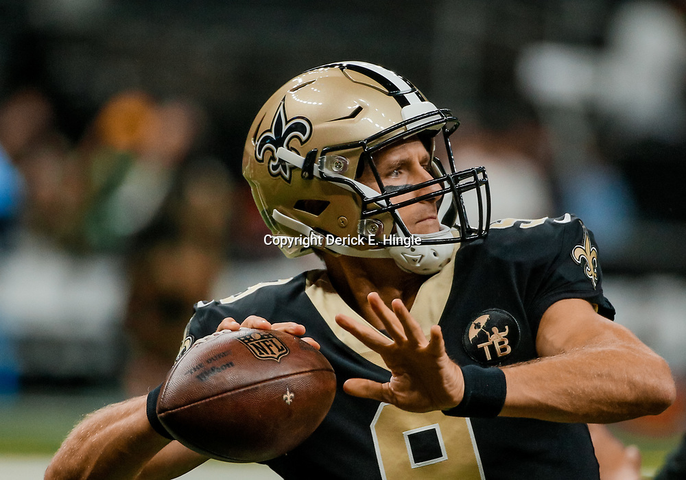 Aug 30, 2018; New Orleans, LA, USA; New Orleans Saints quarterback Drew Brees (9) before a preseason game against the Los Angeles Rams at the Mercedes-Benz Superdome. Mandatory Credit: Derick E. Hingle-USA TODAY Sports