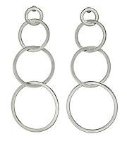 long dangling silver hoops earrings