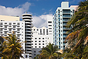 Art deco architecture Royal Palm hotel and high rise apartment blocks South Beach, Miami, Florida, USA