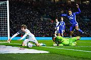 Cardiff City goalkeeper Neil Etheridge (1) fouls Leeds United forward Patrick Bamford (9) during the EFL Sky Bet Championship match between Leeds United and Cardiff City at Elland Road, Leeds, England on 14 December 2019.