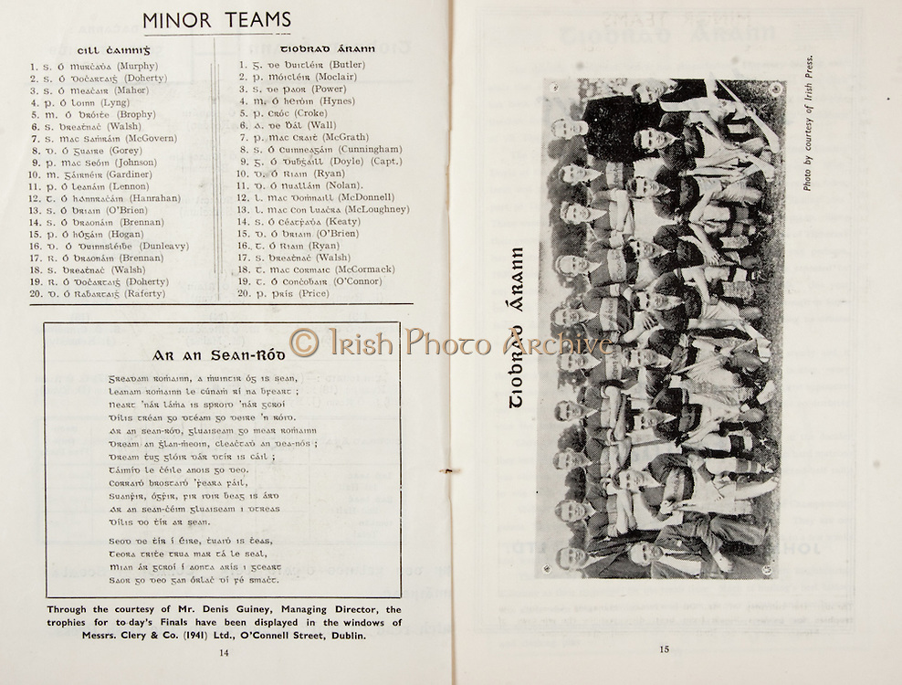 All Ireland Senior Hurling Championship Final,.Brochures,.03.09.1950, 09.03.1950, 3rd September 1950, .Tipperary 1-9, Kilkenny 1-8, .Minor Tipperary v Kilkenny,.Senior Tipperary v Kilkenny, .Croke Park, ..Kilkenny Minor Team, S Murphy, S Doherty, S Maher, P Lyng, M Brophy, S Walsh, S McGovern, D Gorey, P Johnson, M Gardiner, P Lennon, T Hanrahan, S O'Brien, S Brennan, P Hogan, D Dunleavy, R Brennan, S Walsh, R Doherty, D Raferty, ..Tipperary Minor Team, G. Butler, P Moclair, S Power, M Hynes, P Croke, A Wall, P McGrath, S Cunningham, G Doyle (captain), D Ryan, D Nolan, L McDonnell, L McLoughney, S Keaty, D O'Brien, T Ryan, S Walsh, T McCormack, T O'Connor, P Price, ..Poems, Ar An Sean-Rod,