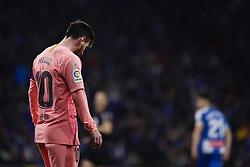 December 8, 2018 - Barcelona, Catalonia, Spain - December 8, 2018 - Cornella- El Prat, Barcelona, Spain - LaLiga Santander- RCD Espanyol v FC Barcelona; Lionel Messi of FC Barcelona after loses the ball. (Credit Image: © Marc Dominguez/ZUMA Wire)