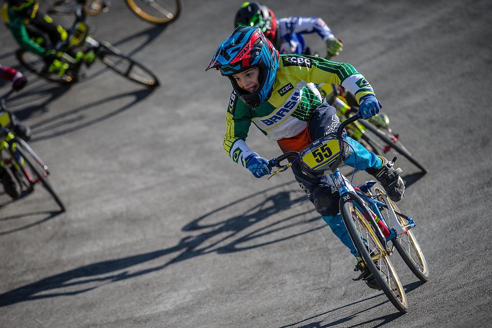 8 Boys #55 (CARDOSO DARRIBA Lucas) BRA at the 2018 UCI BMX World Championships in Baku, Azerbaijan.