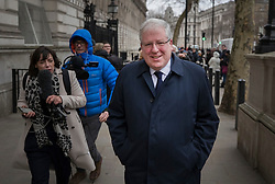 © Licensed to London News Pictures. 08/01/2018. London, UK. Sir Patrick McLoughlin leaves Downing Street after being replaced as Tory Party chairman by Brandon Lewis during a cabinet re-shuffle by Prime Minister Theresa May. A number of senior moves are expected ahead of a new phase in Brexit negotiations and following the recent resignation of First Secretary Damian Green. Photo credit: Peter Macdiarmid/LNP