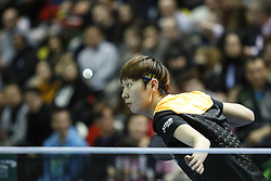 February 23, 2018 - London, England, United Kingdom - Kasumi ISHIKAWA of Japan during ITTF Team World Cup match between Kasumi ISHIKAWA of Japan and Tianwei FENG of Singapore, Quarter Finals Women doubles match on February 23, 2018 in Copper Box Arena, Olympic Park, London. (Credit Image: © Dominika Zarzycka/NurPhoto via ZUMA Press)