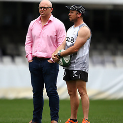 DURBAN, SOUTH AFRICA, 9 September, 2016 - Eduard Coetzee with Johan Pretorius Head Strength & Conditioning Coach during The Cell C Sharks Captains Run at Growthpoint Kings Park in Durban, South Africa. (Photo by Steve Haag)<br /> <br /> images for social media must have consent from Steve Haag