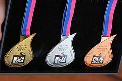 13.08.2014, Regattastrecke Grünau, Berlin, GER, LEN, Schwimm EM 2014, Eröffnungszeremonie, im Bild So sieht der Medaillensatz bei der Schwimm-EM 2014 aus // during the opening Ceremony of the LEN 2014 European Swimming Championships at the Regattastrecke Grünau in Berlin, Germany on 2014/08/13. EXPA Pictures © 2014, PhotoCredit: EXPA/ Eibner-Pressefoto/ Hundt<br /> <br /> *****ATTENTION - OUT of GER*****