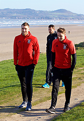 DUBLIN, REPUBLIC OF IRELAND - Friday, March 24, 2017: Wales' Sam Vokes and David Edwards during a pre-match team walk around Portmarnock Hotel And Golf Links ahead of the 2018 FIFA World Cup Qualifying Group D match against Republic of Ireland. (Pic by David Rawcliffe/Propaganda)