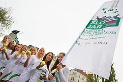Girls walking through centre of Ljubljana for Davis cup Slovenia vs South Africa competition on September 12, 2013 in Ljubljana, Slovenia. (Photo by Vid Ponikvar / Sportida.com)