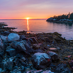 Isle au Haut sunset, Acadia National Park, Maine. Duck Harbor from the Duck Harbor Campground.