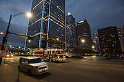 DALLAS, TX - SEPTEMBER 2: A view of downtown Dallas from the parking garage where on July 7, 2016 Micah Johnson ambushed a group of Dallas police officers during a Black Lives Matter march through downtown Dallas, Texas killing 5 officers seen on September 2, 2016. (Photo by Cooper Neill for The Washington Post)