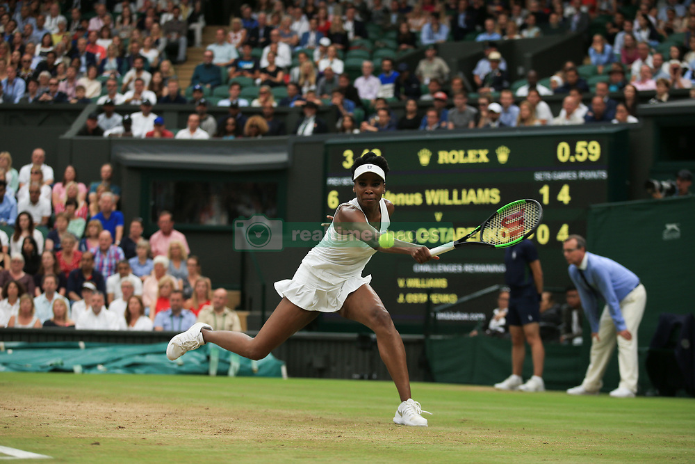 11 July 2017 -  Wimbledon Tennis (Day 8) - Venus Williams (USA) in action during her quarter final victory - Photo: Marc Atkins / Offside.