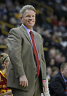 December 09 2010: Iowa St. head coach Bill Fennelly smiles during the first half of their NCAA basketball game at Carver-Hawkeye Arena in Iowa City, Iowa on December 9, 2010. Iowa defeated Iowa State 62-40 in the Hy-Vee Cy-Hawk Series rivalry game.