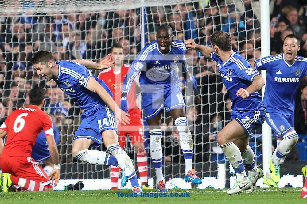 Picture by Richard Calver/Focus Images Ltd +447792 981244<br /> 01/12/2013<br /> Gary Cahill (left) of Chelsea celebrates after scoring the equalising goal against Southampton during the Barclays Premier League match at Stamford Bridge, London.