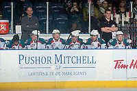 KELOWNA, CANADA - MARCH 5: The Kelowna Rockets sit on the bench against the Spokane Chiefs on March 5, 2014 at Prospera Place in Kelowna, British Columbia, Canada.   (Photo by Marissa Baecker/Getty Images)  *** Local Caption ***