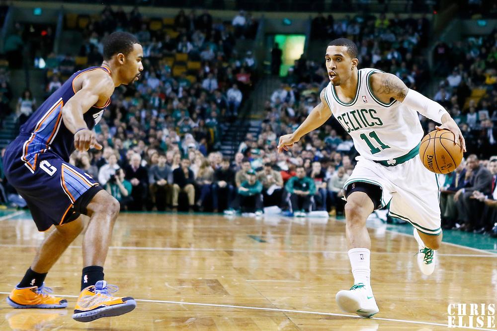 14 January 2013:Boston Celtics shooting guard Courtney Lee (11) dribbles  during the Boston Celtics 100-89 victory over the Charlotte Bobcats at the TD Garden, Boston, Massachusetts, USA.