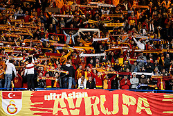 Galatasaray supporters hold up scarves - Photo mandatory by-line: Rogan Thomson/JMP - 18/03/2014 - SPORT - FOOTBALL - Stamford Bridge, London - Chelsea v Galatasaray - UEFA Champions League Round of 16 Second leg.