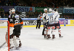 06.12.2015, Eisstadion Liebenau, Graz, AUT, EBEL, Moser Medical Graz 99ers vs EC VSV, 28. Runde, im Bild von links Sebastian Dahm (Moser Medical Graz 99ers), Rick Schofield (EC VSV), Ziga Pance (EC VSV) und Dustin Johner (EC VSV) // during the Erste Bank Icehockey League 28th Round match between Moser Medical Graz 99ers and EC VSV at the Ice Stadium Liebenau, Graz, Austria on 2015/12/06, EXPA Pictures © 2015, PhotoCredit: EXPA/ Erwin Scheriau