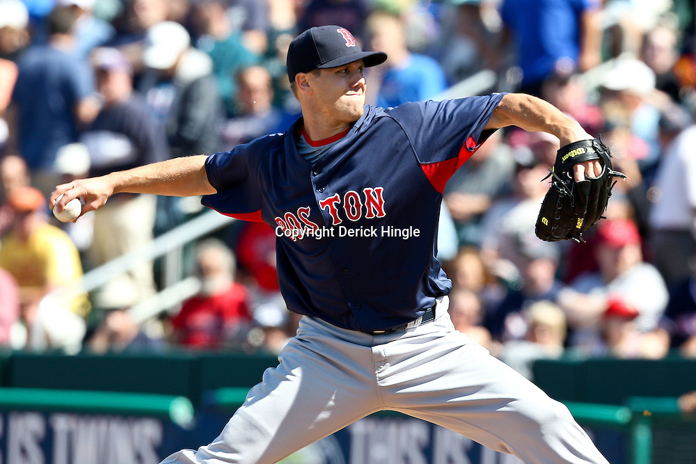 March 11, 2011; Fort Myers, FL, USA; Boston Red Sox relief pitcher Jonathan Papelbon (58) during a spring training exhibition game against the Minnesota Twins at Hammond Stadium.   Mandatory Credit: Derick E. Hingle